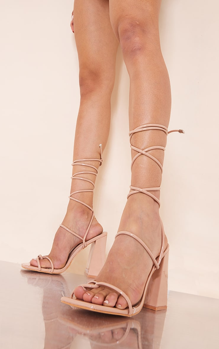 Nude Patent PU Toe Loop Strappy Heeled Sandals 2