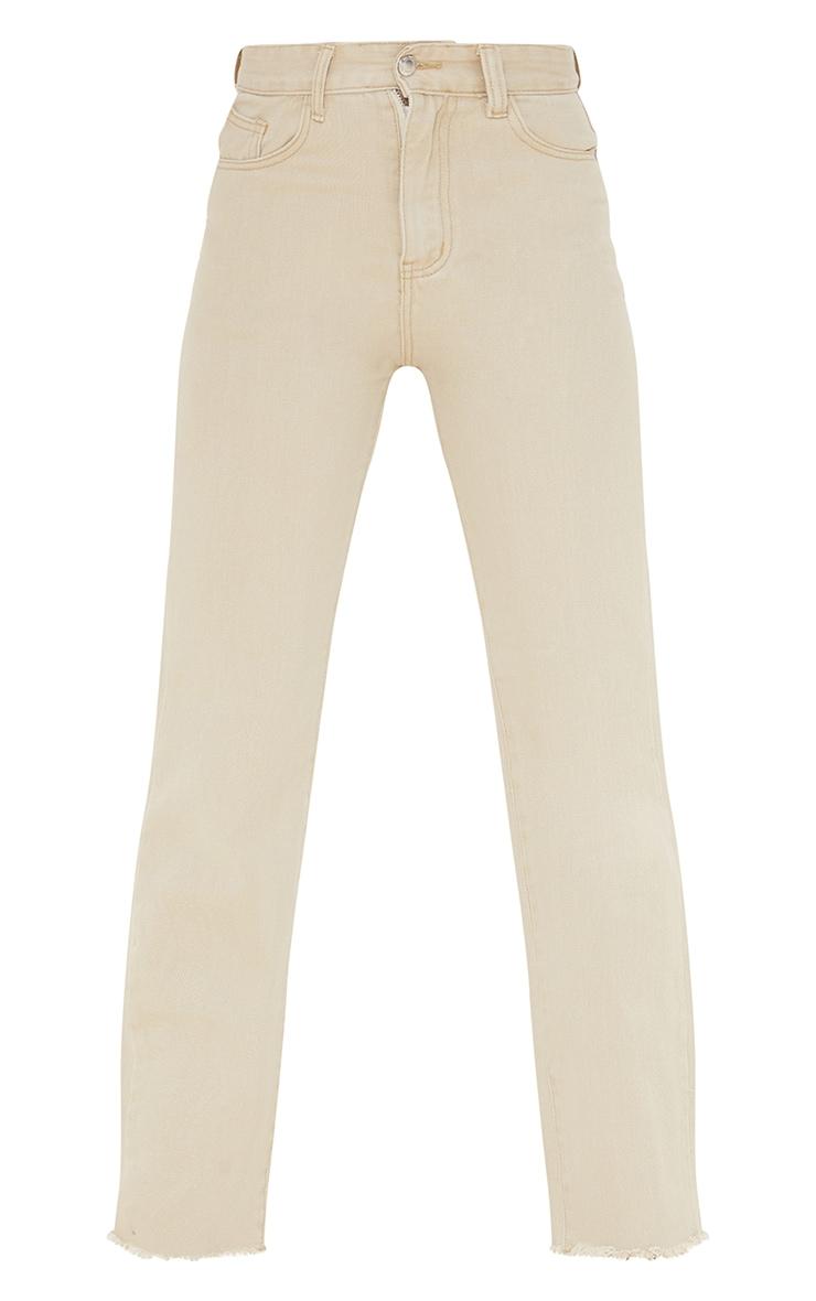 Stone Long Straight Leg Raw Hem Jeans 5