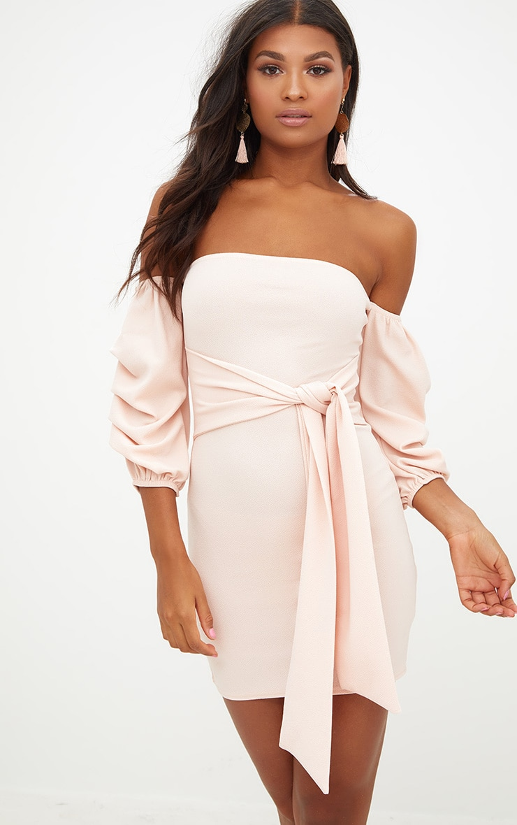 Nude Puff Sleeve Tie Front Bodycon Dress 1