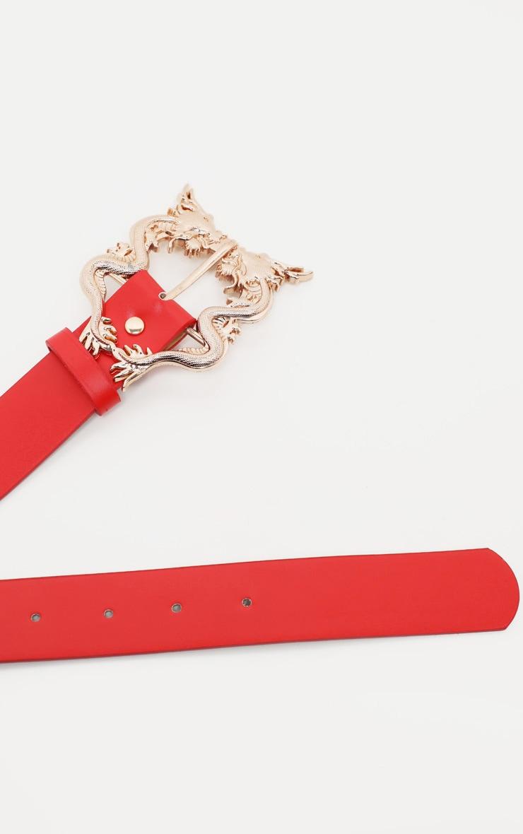 Red Pu Dragon Buckle Belt 3