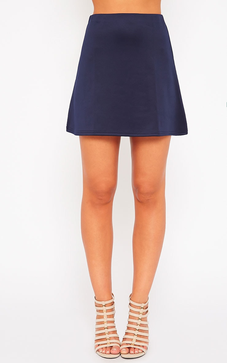 Lauryn Navy Scuba A Line Skirt 2
