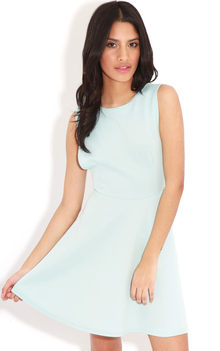 Arianna Baby Blue Scuba Side Slit Skater Dress 4
