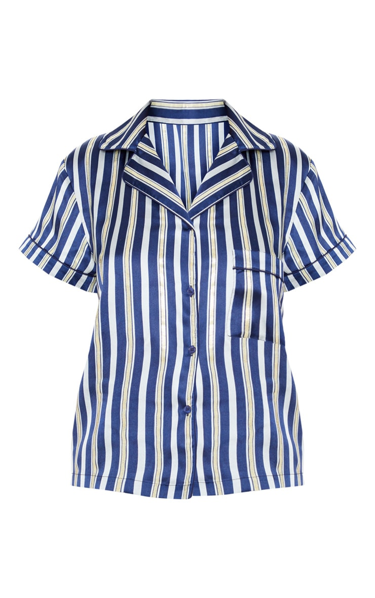 Navy Stripe Print Short Satin Pajama Set 3