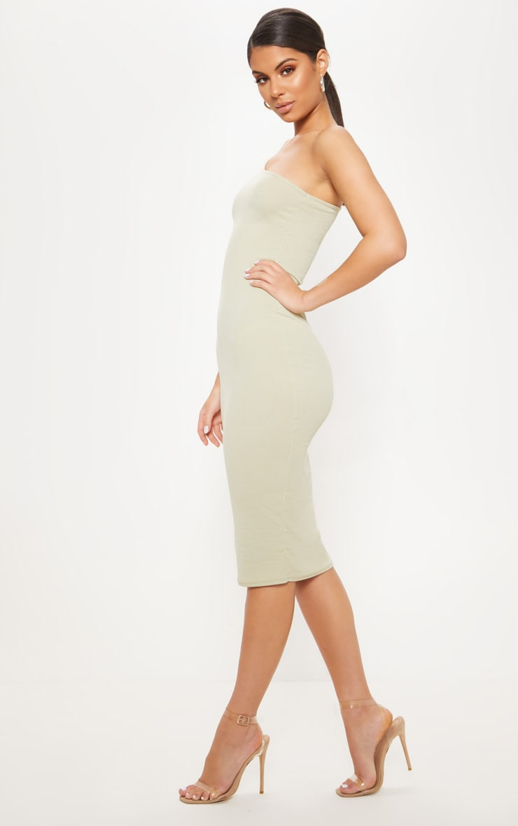 Sage Green Ribbed One Shoulder Midi Dress 4