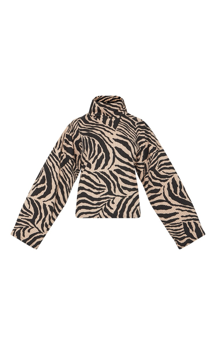 Tan Zebra Print Roll Neck Oversized Sweater 3