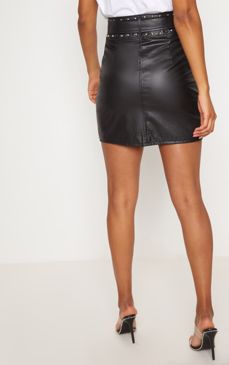 Black Faux Leather Stud Detail Belted Mini Skirt 4