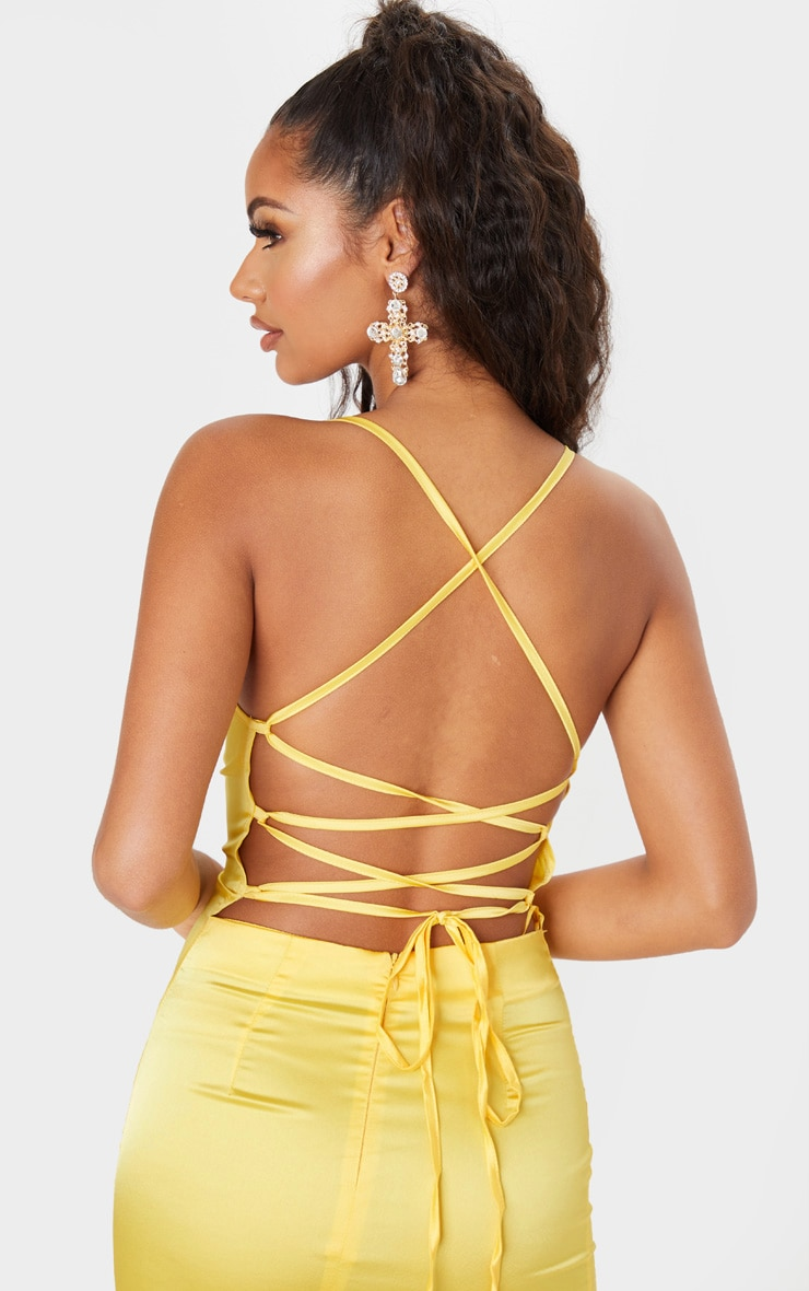 Lemon Stretch Satin Lace Up Back Cowl Neck Bodycon Dress 5
