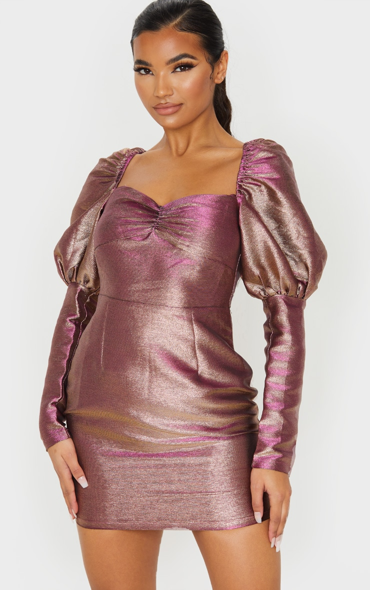 Magenta Iridescent Puff Sleeve Low Back Bodycon Dress 1