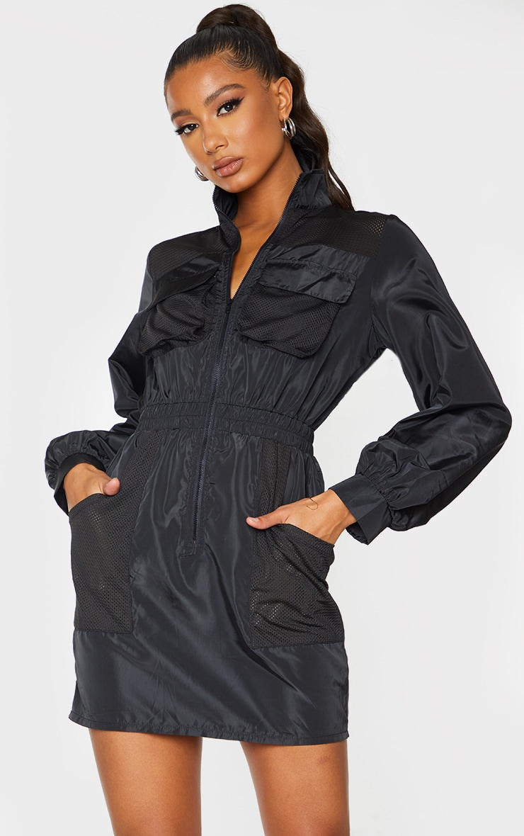 Black Contrast Mesh Detail Zip Through Shell Bodycon Dress 3
