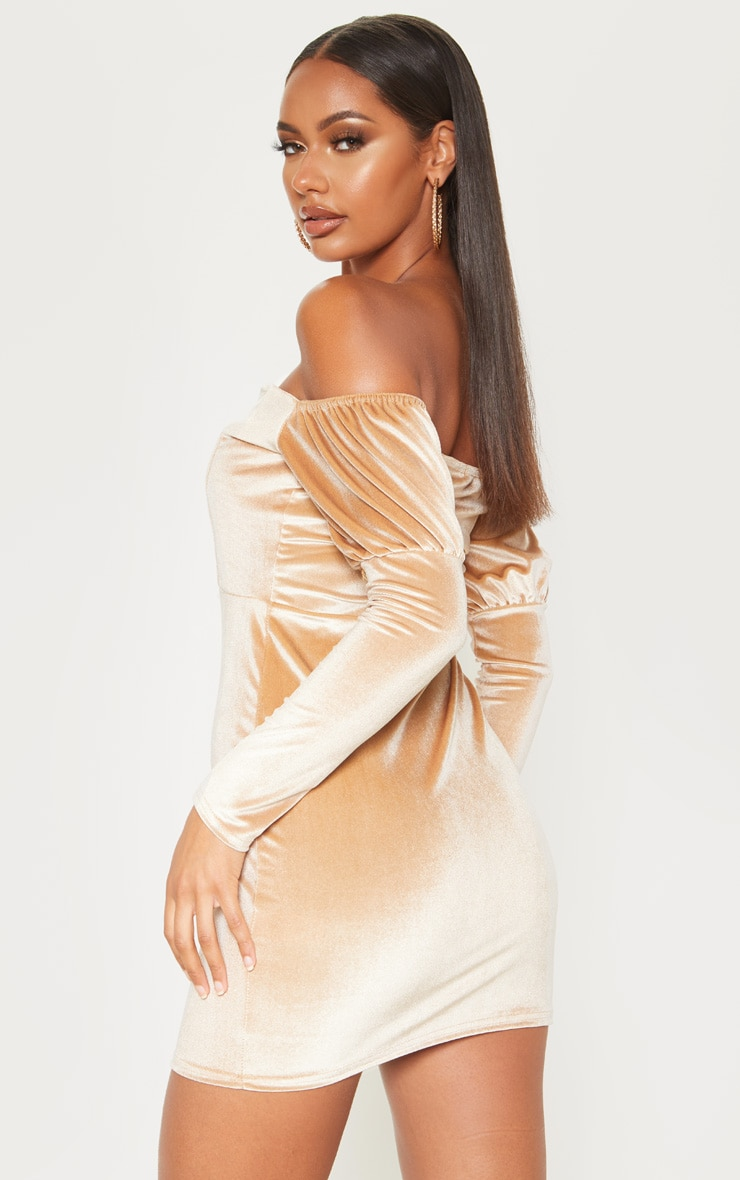 Champagne Velvet V Bar Long Sleeve Bodycon Dress  2