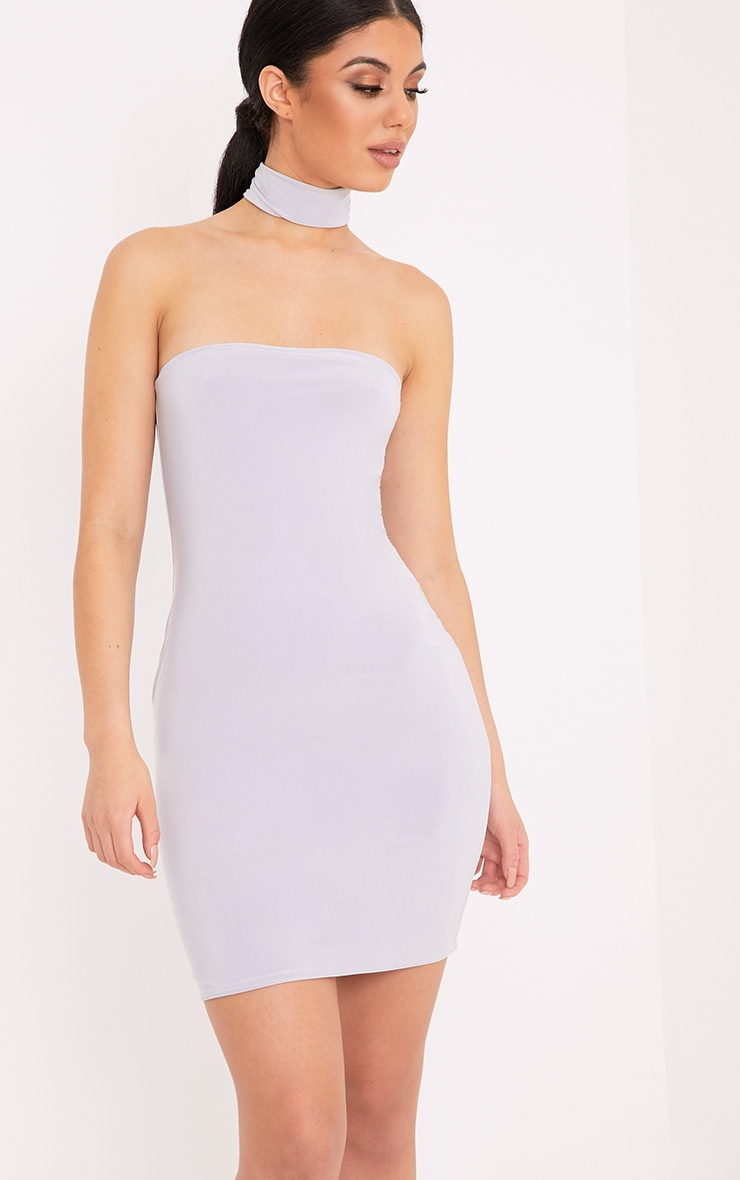 Charlotte Ice Grey Slinky Choker Bandeau Bodycon Dress 1