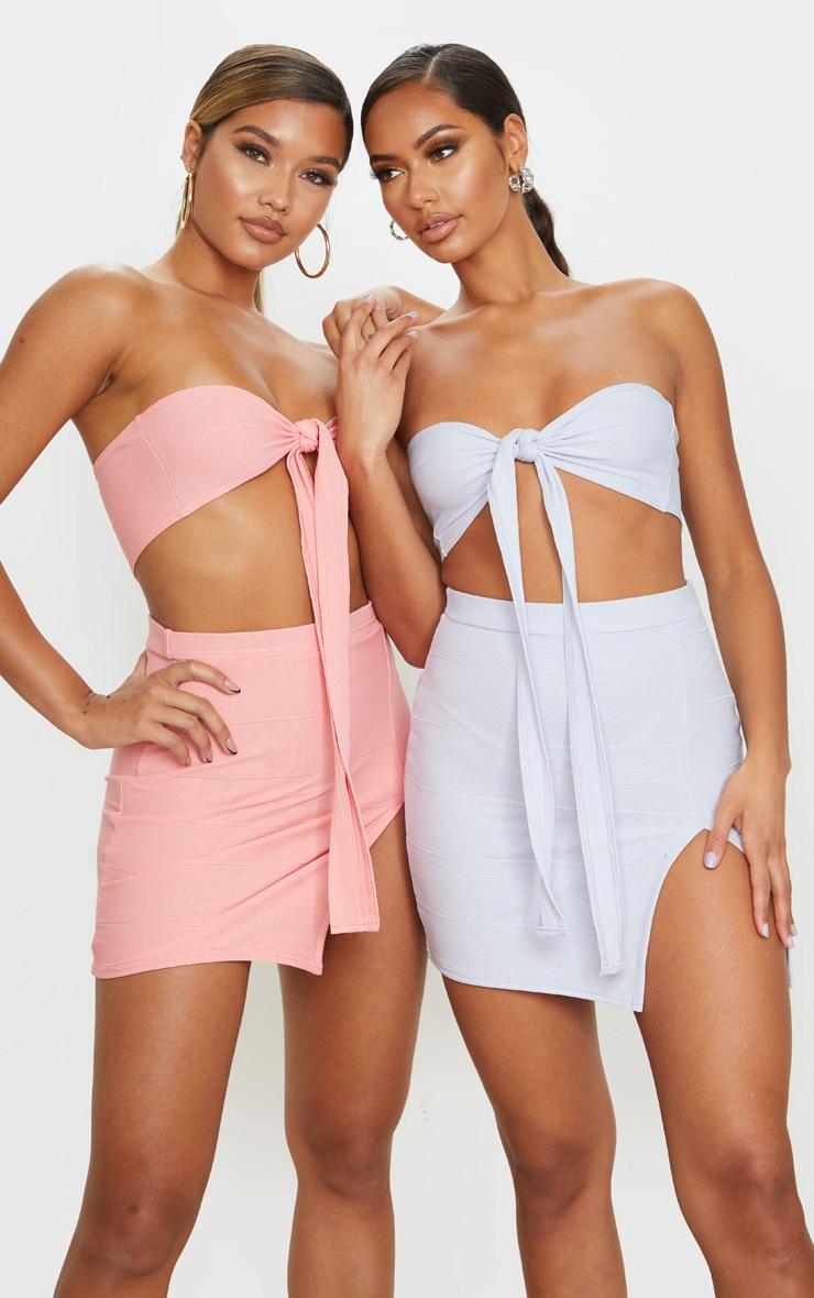 Baby Blue Bandage Split Mini Skirt 1