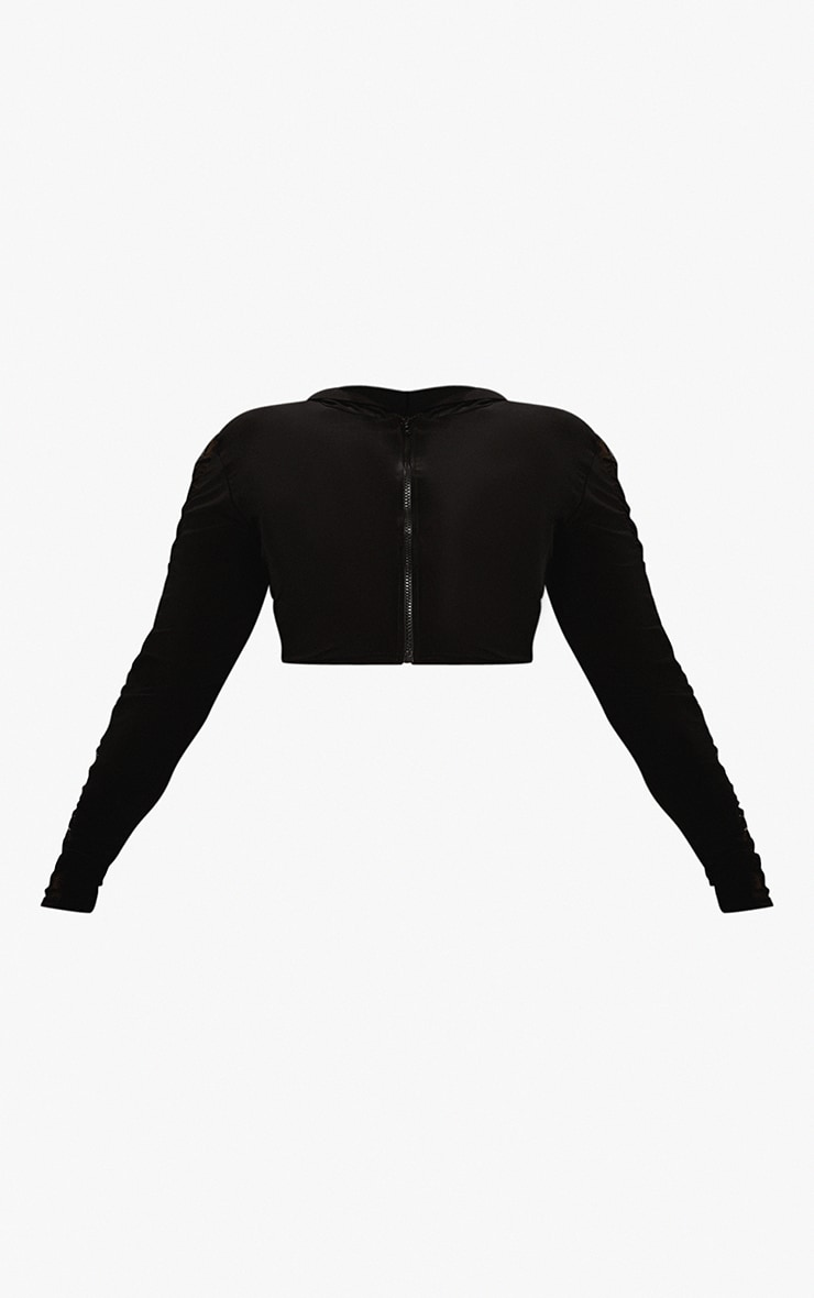Plus Black Mesh Side Panel Zip Up Crop Top 5