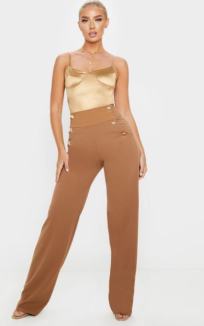 Camel Button Front Wide Leg Trouser
