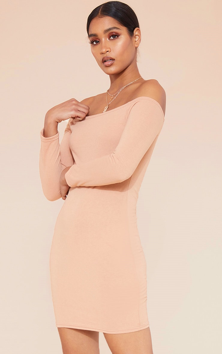 RECYCLED Pale Tan Bardot Bodycon Dress 1