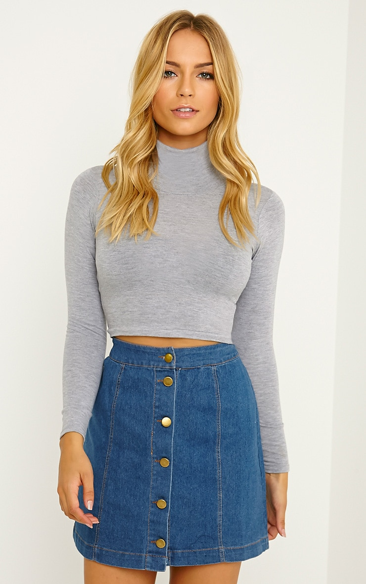 Basic Grey Roll Neck Crop Top 4