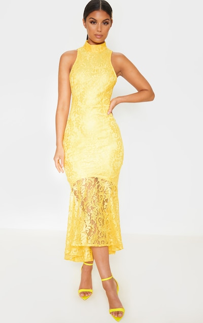 Bright Yellow Lace High Neck Fishtail Midaxi Dress