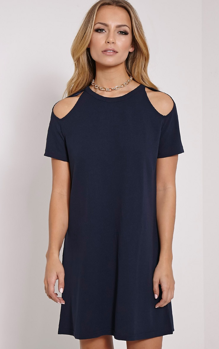 Sandie Navy Cold Shoulder Shift Dress 1