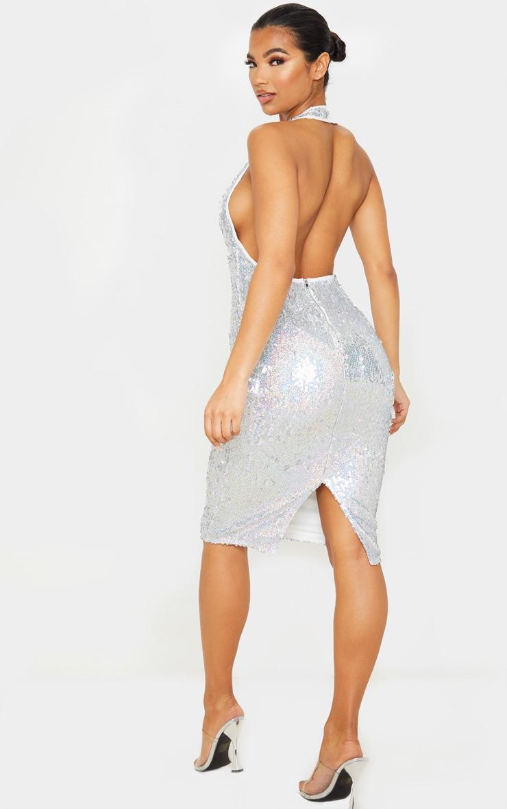 Silver Sequin Midi Dress 2