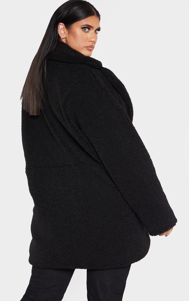 Plus Black Midi Teddy Borg Coat 2