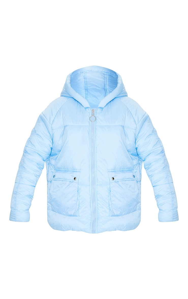Light Blue Pocket Front Hooded Puffer 6