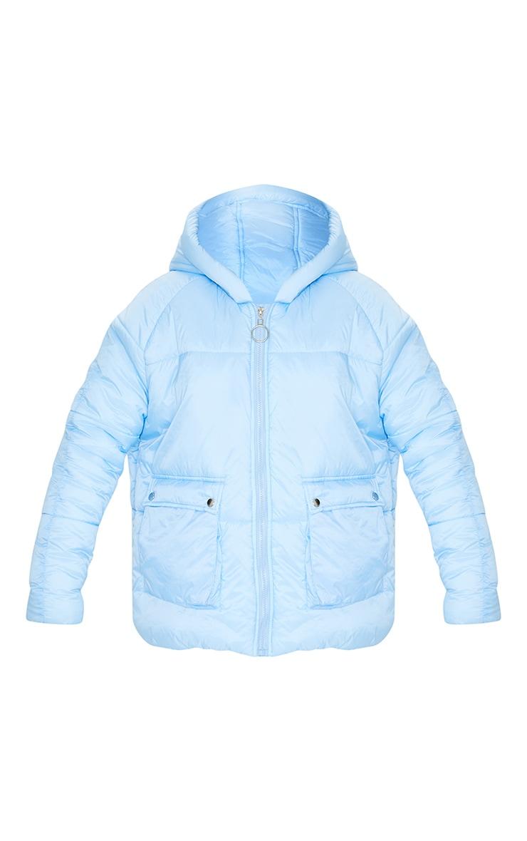 Light Blue Pocket Front Hooded Puffer 5