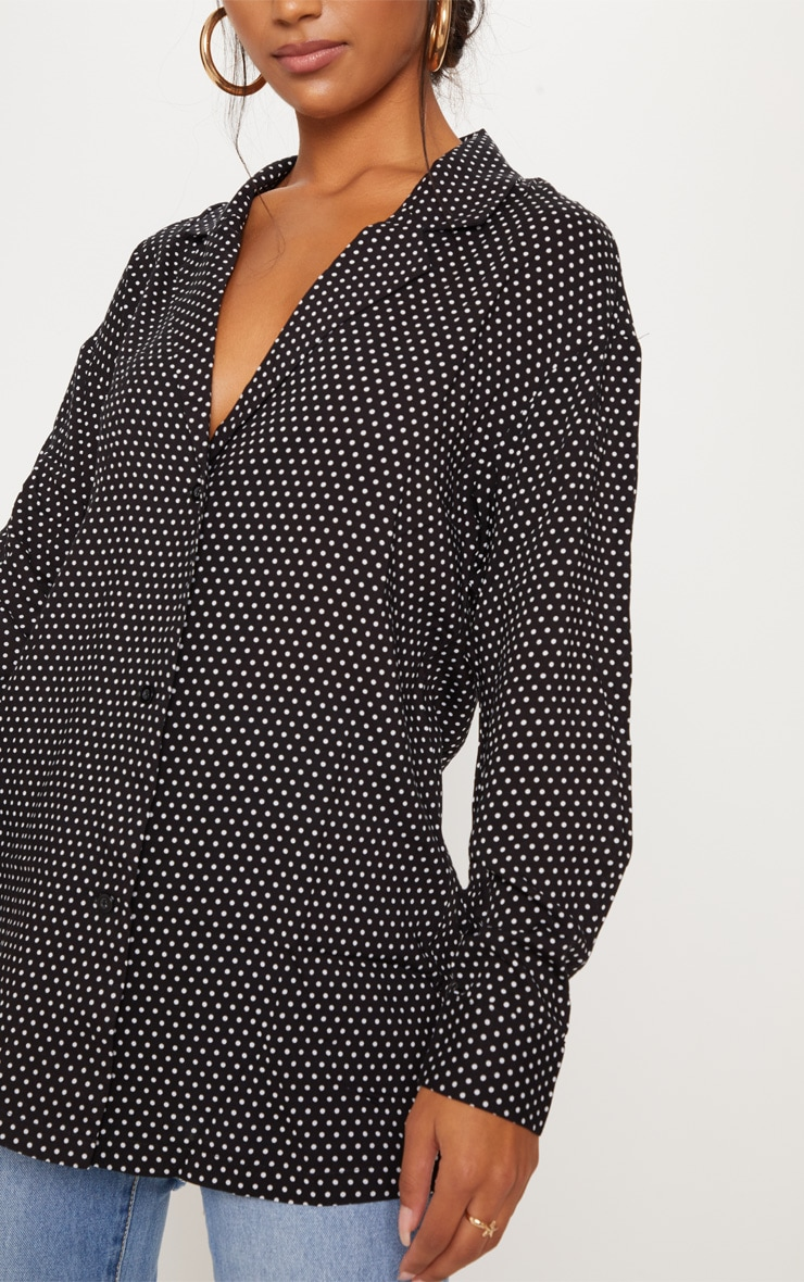 Black Polka Dot Button Shirt 5