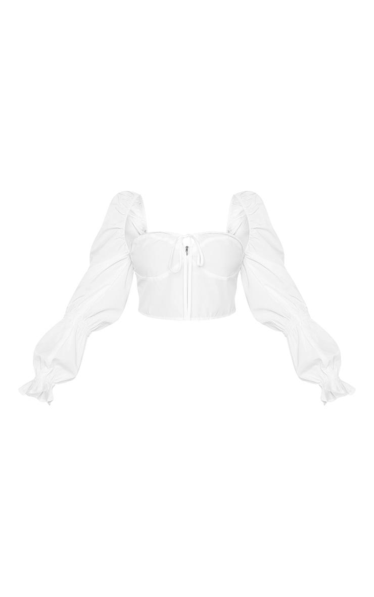 Plus White Puff Sleeve Bardot  Crop Top 5