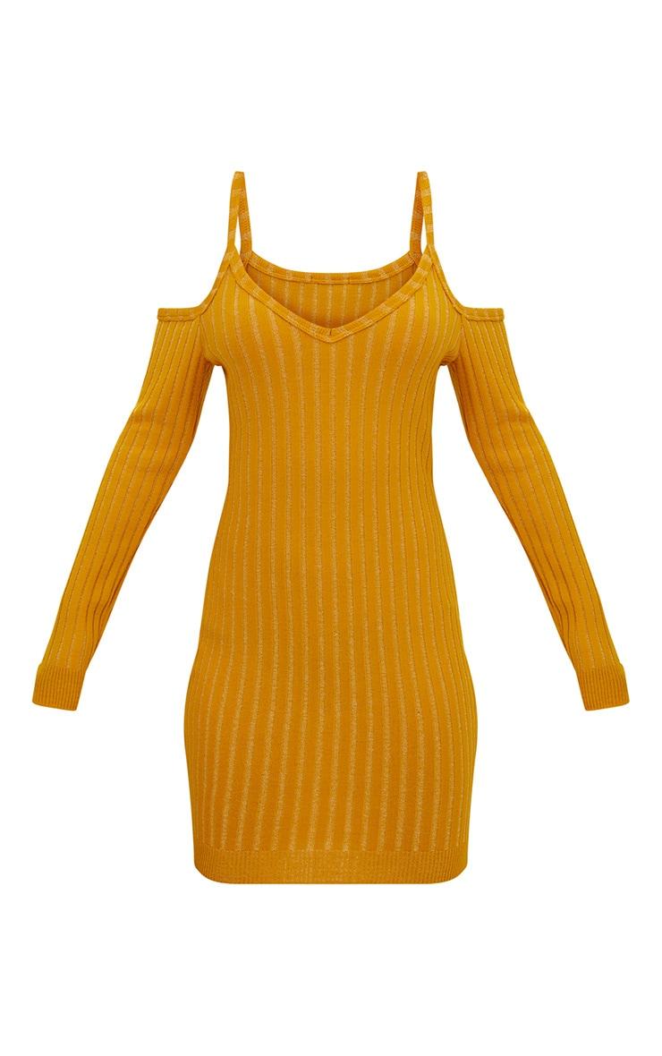 Mustard Cold Shoulder Knitted Mini Dress 2