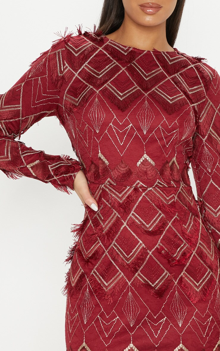 Burgundy Embroidered Tassel Bodycon Dress 5