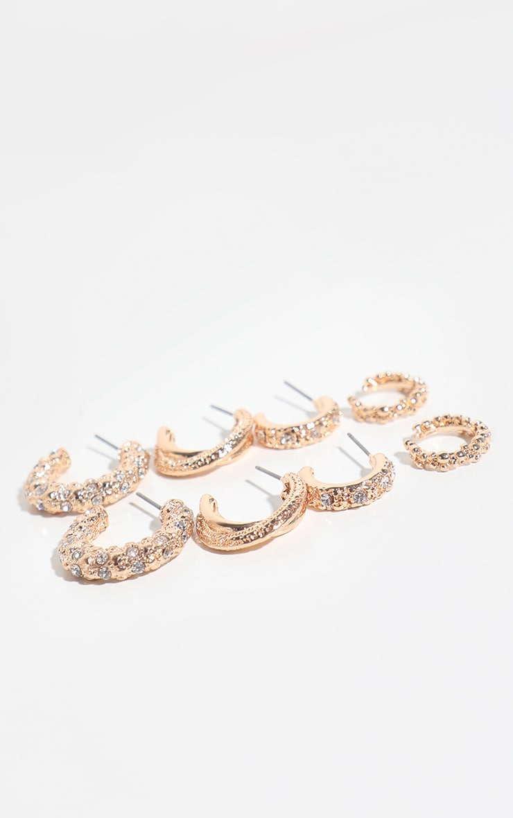 Gold Textured Mixed Mini Hoop 4 Pack 1