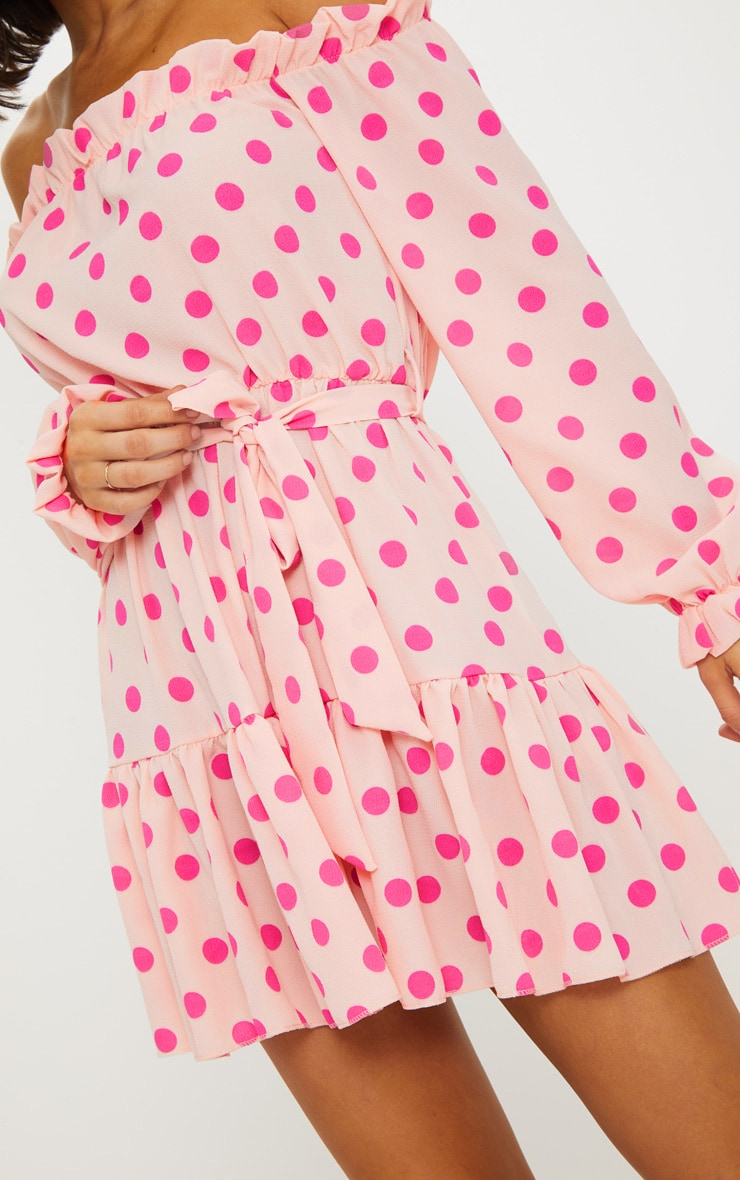 Dusty Pink Polka Dot Bardot Tie Waist Shift Dress  5