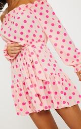Dusty Pink Polka Dot Bardot Tie Waist Shift Dress  5
