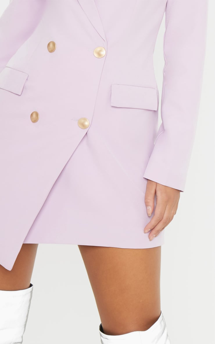 Lilac Gold Button Blazer Dress 6