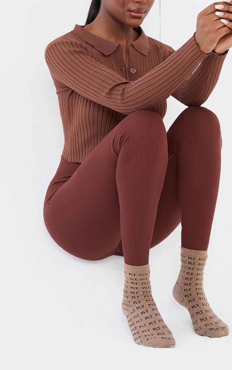 Tall Chocolate Structured Contour Rib Legging 4