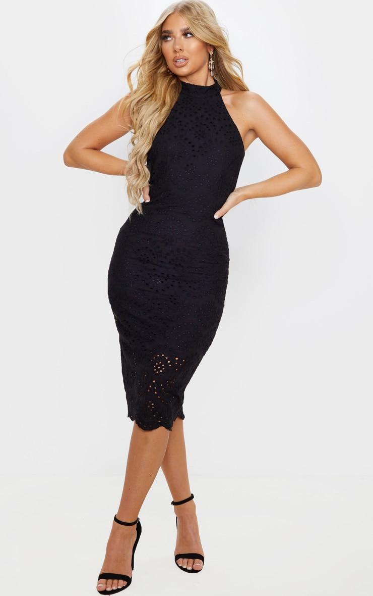 Black Crochet Lace Backless Midi Dress 4