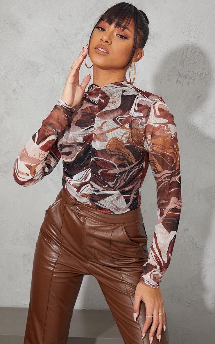 Brown Abstract Swirl Printed Mesh Ruched Front Long Sleeve Bodysuit 1
