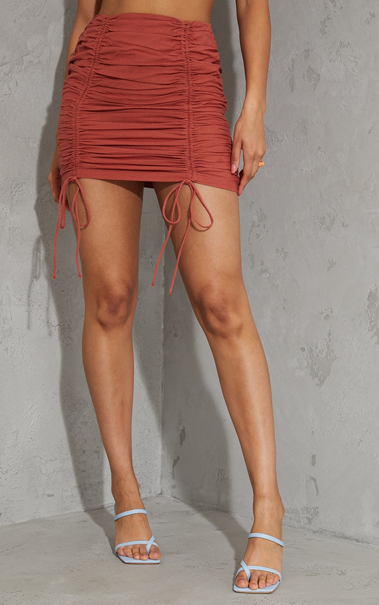 Burnt Orange Linen Look Ruched Detailing Mini Skirt 2