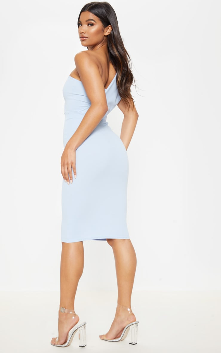 Dusty Blue One Shoulder Drape Midi Dress 2
