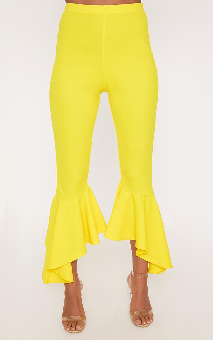 Yellow Asymmetric Flare Hem Trousers 2