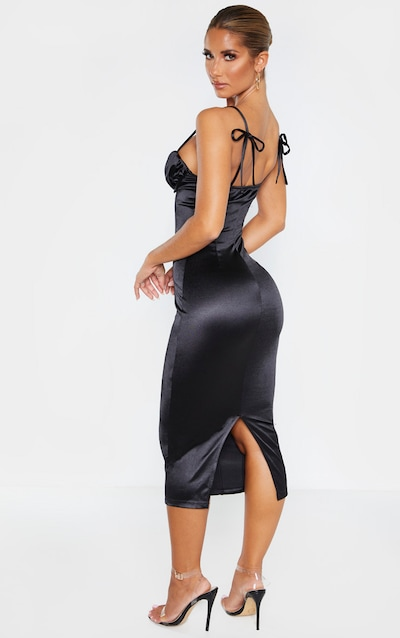 Black Ruched Bust Panelled Satin Midi Dress