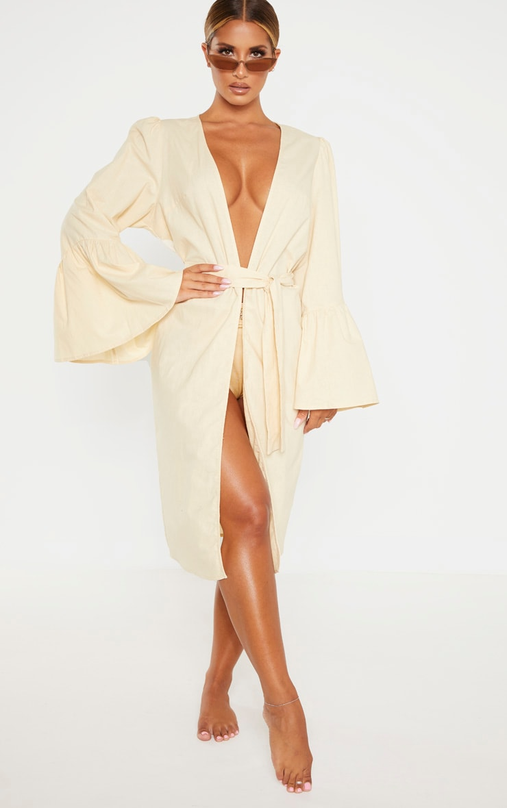 Nude Flare Sleeve Kimono by Prettylittlething