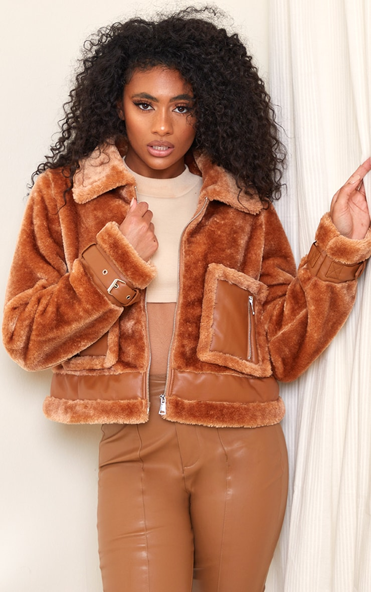 Camel Faux Fur Contrast PU Pocket Cropped Jacket 1