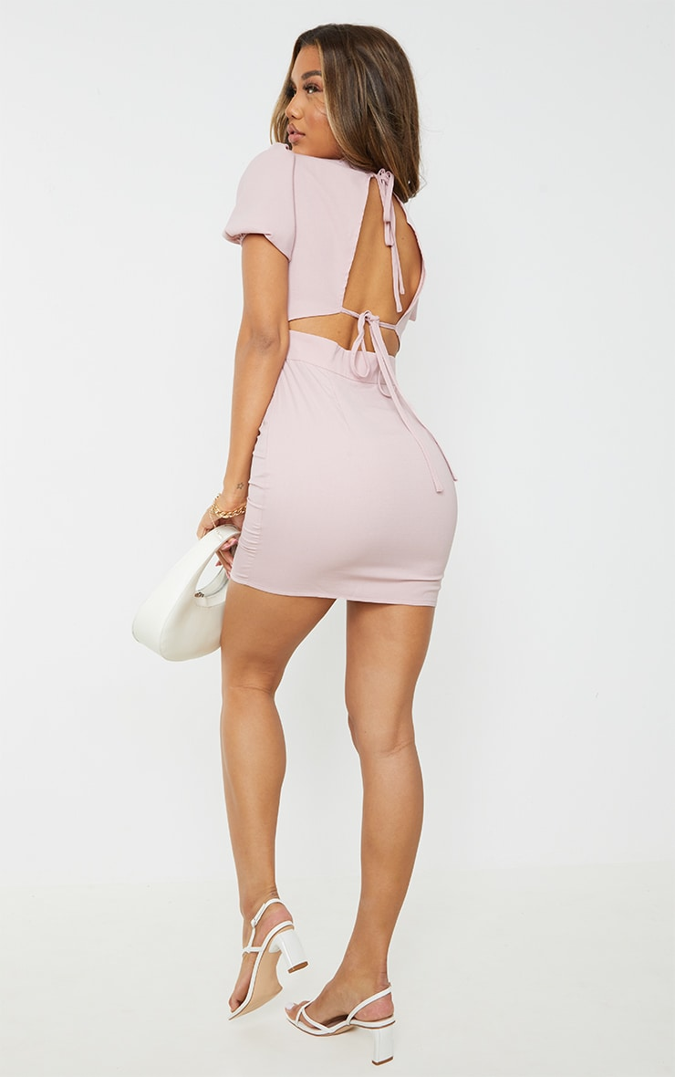Blush Woven Cut Out Tie Back Puff Sleeve Bodycon Dress 1