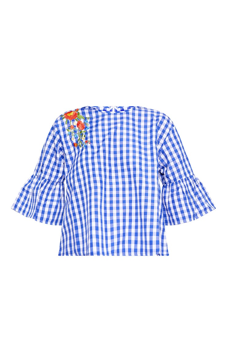 Blue Embroidered Gingham Top 3