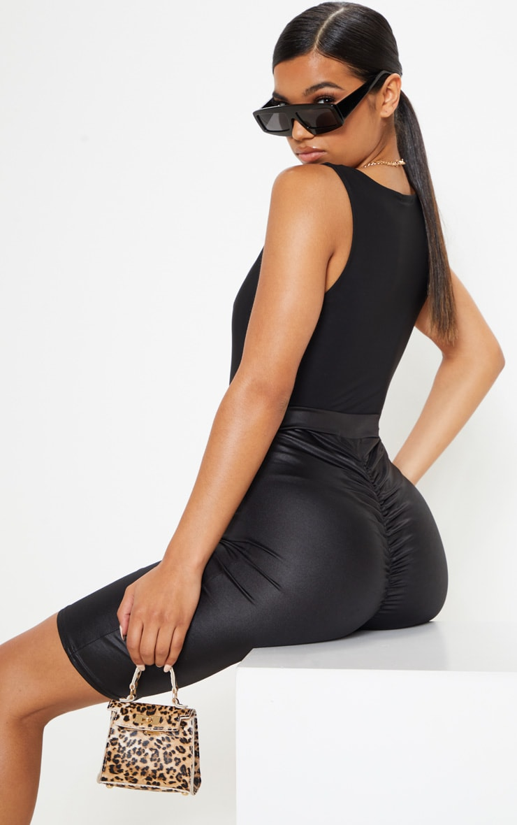 Black Wet Look Ruched Bum Cycle Short 1
