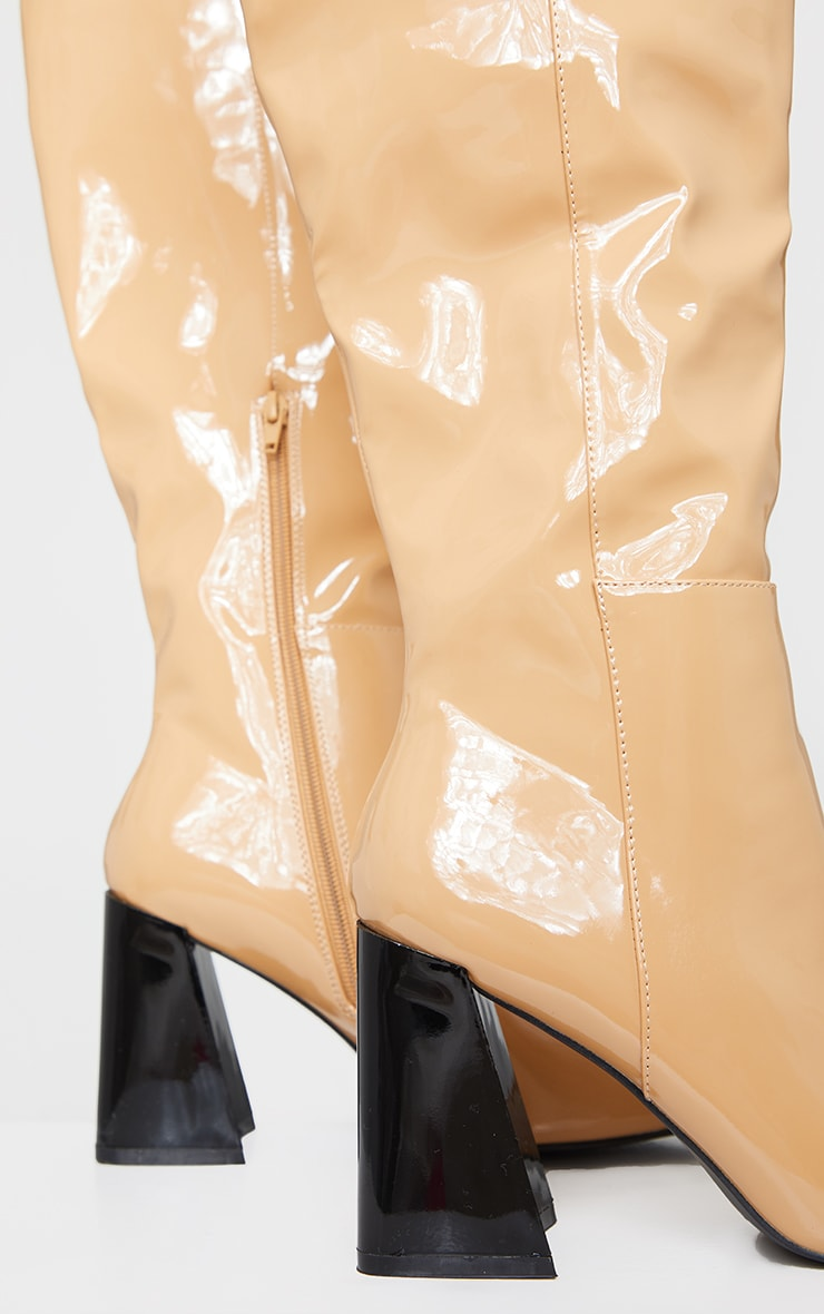 Camel Patent PU Flare Block Heel Square Toe Over Knee Boot 3