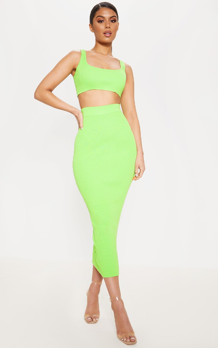 Lime Knitted Ribbed Co Ord 1