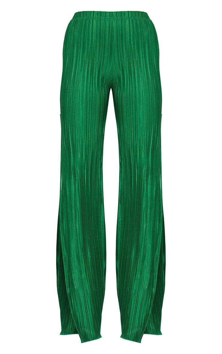 Petite Bright Green Pleated Split Wide Leg Trousers 3