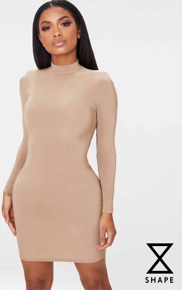 Shape Camel Slinky High Neck Bodycon Dress 1